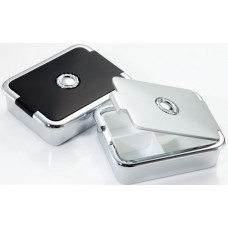 M617 - Compact Pill Box, Silver & Black