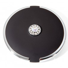 M742 - 7X & Normal Rhinestone Large Round Compact, Black