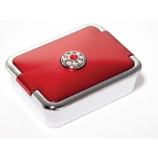 M789 - Rhinestone Pill Box, Normal View Mirror Ruby